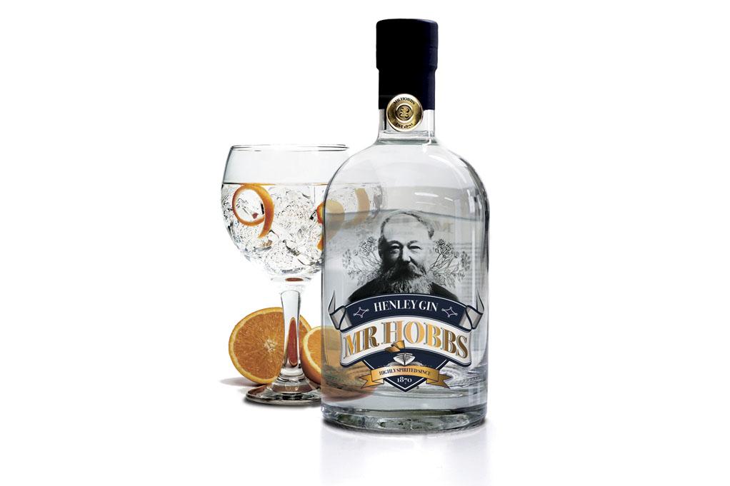 Mr. Hobbs bottle and glass