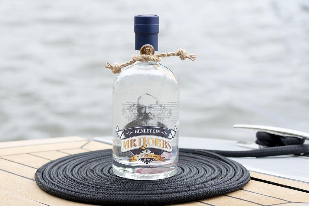 Mr Hobbs gin bottle on a Hobbs of Henley boat