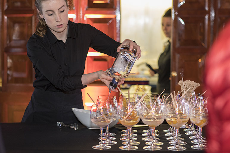 Serving gin on party boat